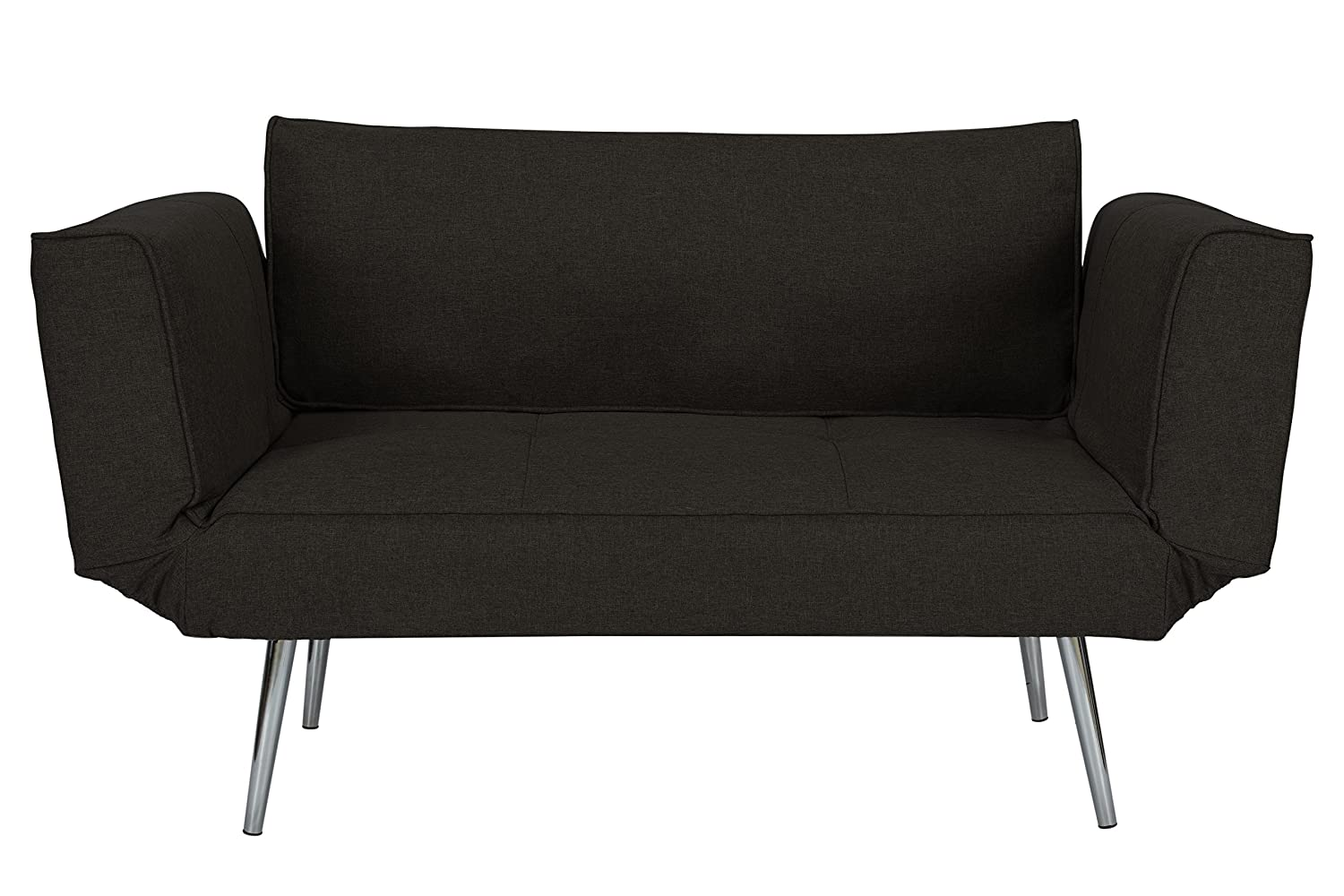 Superieur Amazon.com: DHP Euro Sofa Futon Loveseat With Chrome Legs And Adjustable  Armrests   Black: Home U0026 Kitchen