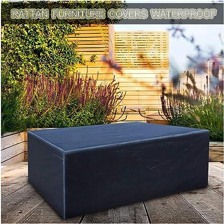 Funda Protectora para Muebles de Jardín, Lona Impermeable Oxford Tela Funda para Mesas de Jardin para Mesa Y Silla de Muebles de Exterior Rectangular/Cuadrado Negro (Size : 180x120x120cm): Amazon.es: Hogar