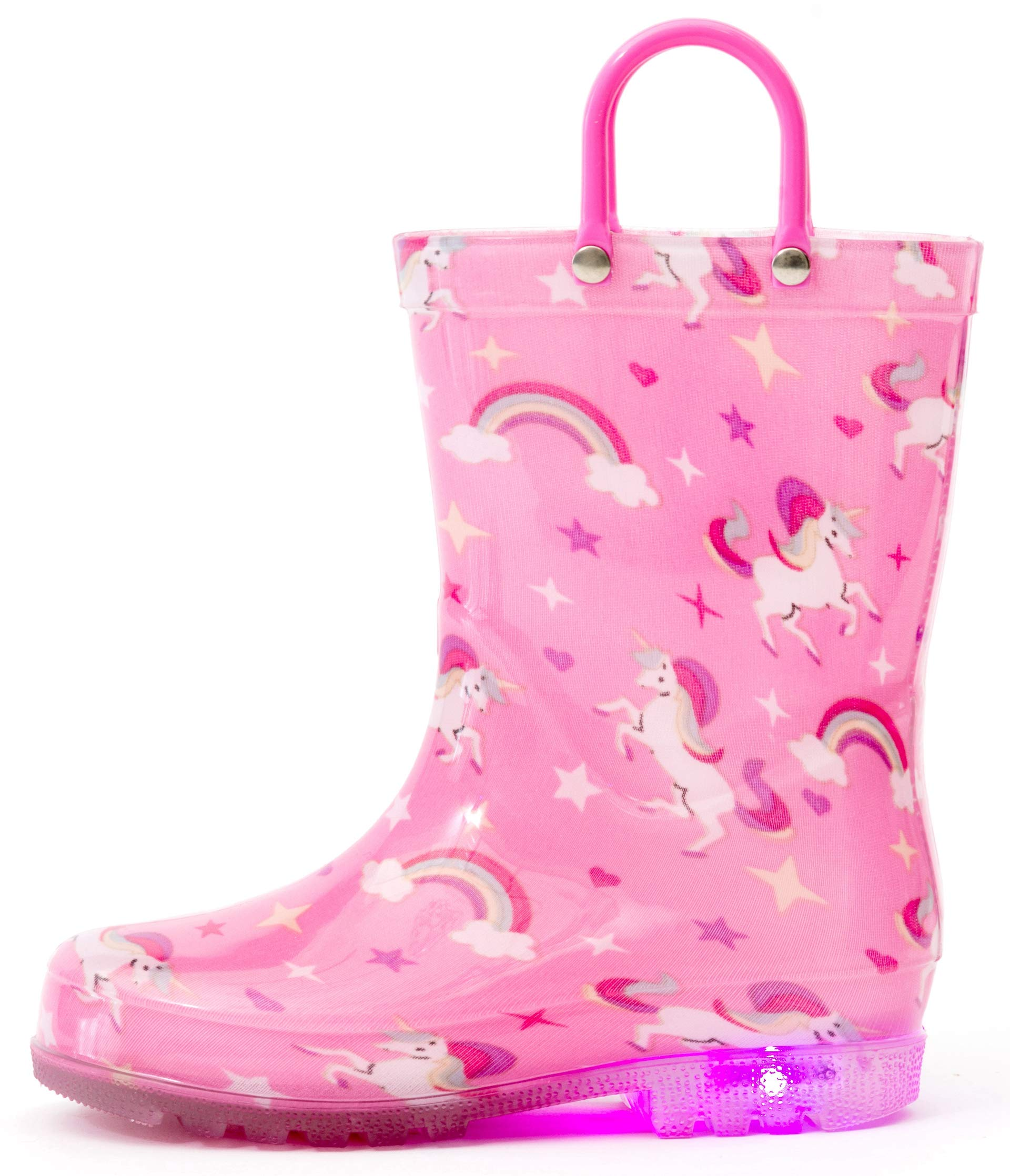 Outee Girls Kids Toddler Rain Boots Light Up Printed Waterproof Shoes Lightweight Cute Pink Unicorn with Easy-On Handles and Insole (Size 2,Pink)
