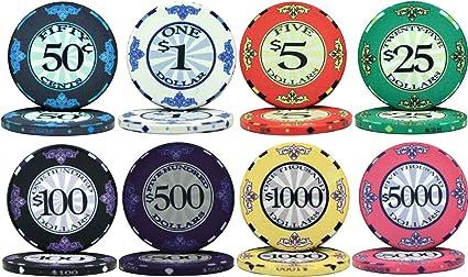 Amazon Com Scroll Design Ceramic 10gm Poker Chips 8 Chip Sample Set Sports Outdoors