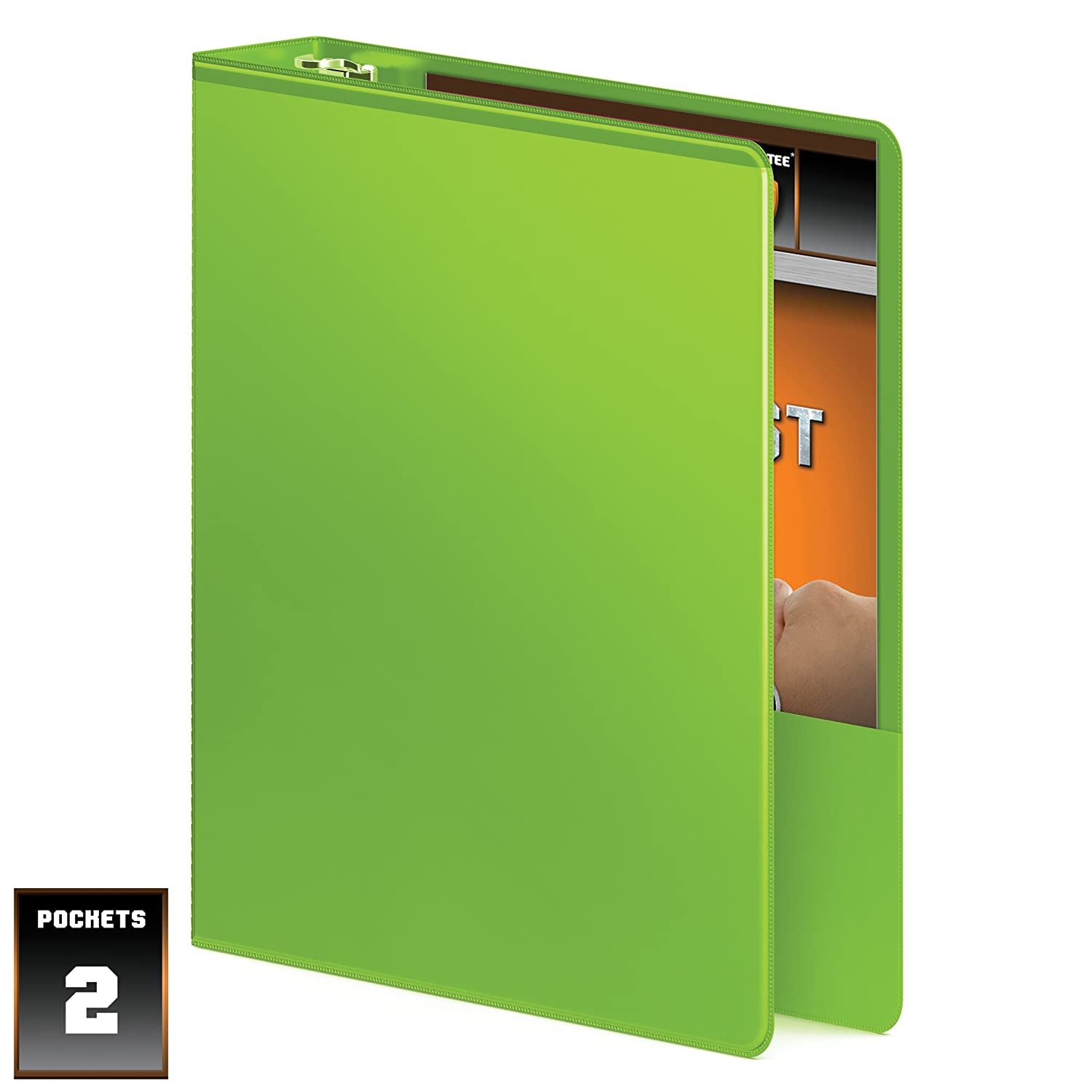 Wilson Jones Heavy Duty D-Ring View Binder with Extra Extra with Durable Hinge, 1.5 Inch, Customizable, Chartreuse (W385-34-376PP) by Wilson Jones 556916
