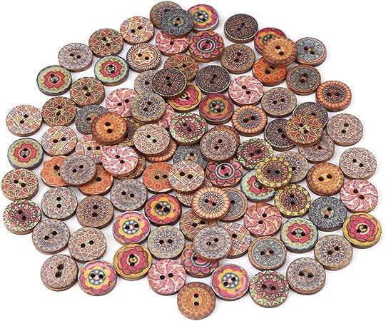 100pcs Mixed Vintage Wood Handmade 2 Holes Wooden Button Sewing Scrapbooking DIY