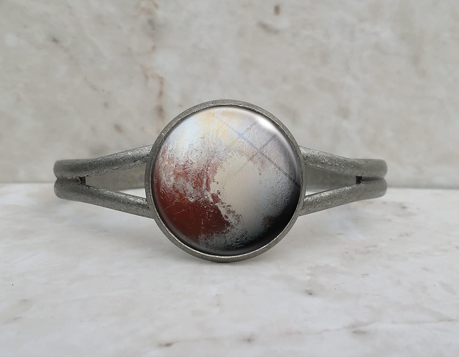Pluto Dwarf Planet Astronomy Science .925 Sterling Silver Adjustable Ring