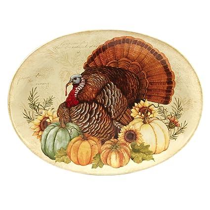 Certified International 22749 Autumn Fields Oval Turkey Platter  5 Servware Serving