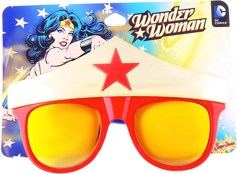 Sunstaches DC Comics Wonder Woman Star Sunglasses, Party Favors, UV400: Clothing