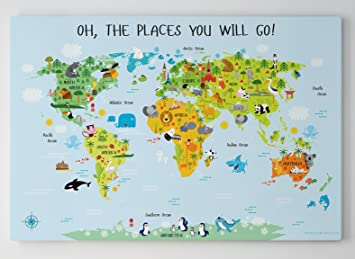 Amazon world map canvas for kids by pictureta unique baby gift world map canvas for kids by pictureta unique baby gift decorate and educate gumiabroncs Image collections