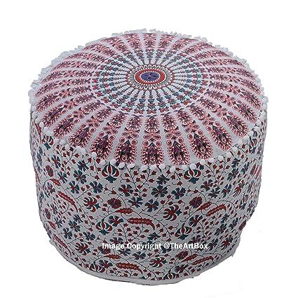 Sensational Amazon Com The Art Box Indian Bohemian Ottoman Pouf Ethnic Creativecarmelina Interior Chair Design Creativecarmelinacom