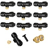 Yotako Misting Nozzles Kit 12x Brass Mister Nozzles 0.3mm 10/24 UNC+ 10x 1/4'' Slip-Lok Misting Nozzle Tees+ 1x Plug, Fog Nozzles for Patio Misting System Outdoor Cooling System Garden Water Mister