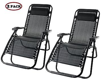 Merax Lounge Chair Zero Gravity Deck Chair Folding Reclining Patio Chair  Set Of 2(Black