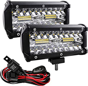 Zmoon Led Light Bar, 2Pcs Off Road Lights 240W 24000lm with Led Wring Harness(10ft /2 Lead), Waterproof Led Spot&Flood Combo Beam Driving Light Bar for SUV/ATV/Jeep/Boat