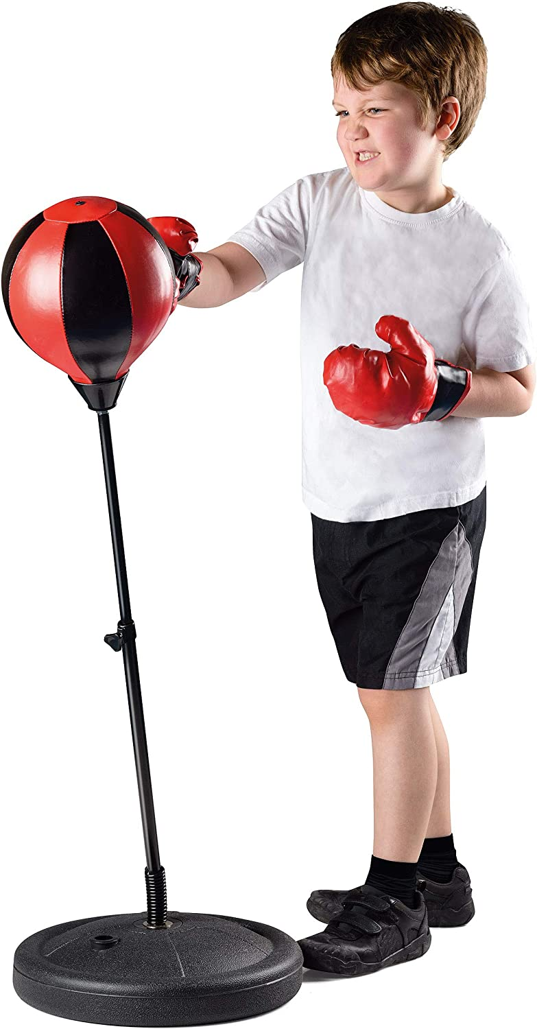 Toyrific Kids Punch Bag with Boxing Gloves Childs Punching Ball with Adjustabl