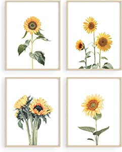 "HAUS AND HUES Sunflower Wall Decor and Sunflower Posters Sunflower Bedroom Decor Sunflower Pictures Wall Decor Yellow Wall Art | Kitchen Decor Sunflower, Sunflower Decor (11""x14"", UNFRAMED)"