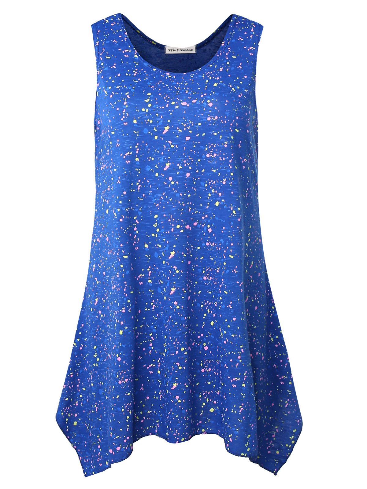 7th Element Plus Size Sleeveless Tunic Flare Flowy Tank Top for Women (Royal Blue,2XL)