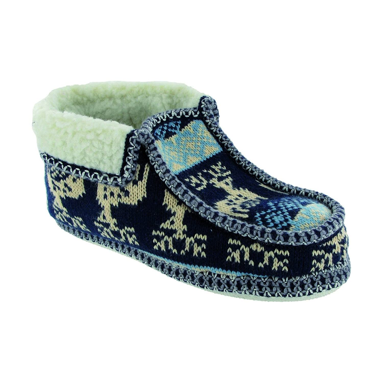 Groupe De Cinq Glissement Des Pantoufles Textiles Dames Doublées - Bleu Marine / Gris - Sml zZ1AKuKAs