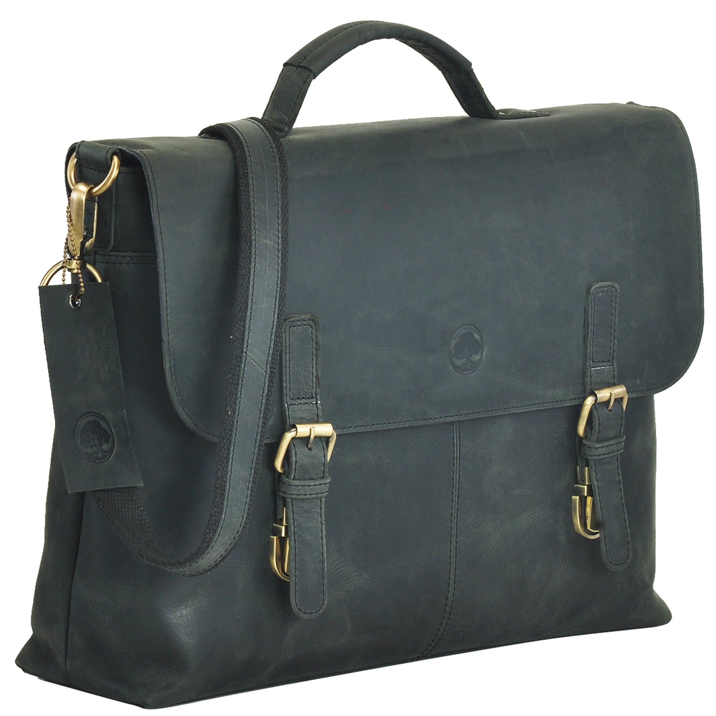 HOLIDAY DEALS !!! SALE TONY'S BAGS - Black 15.6 inch laptop bag Messenger bag Briefcase Unisex Bag Satchel Bag in Vintage Style