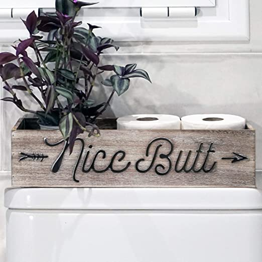Grey Dekali Designs Nice Butt Bathroom Decor Box with Carved Text