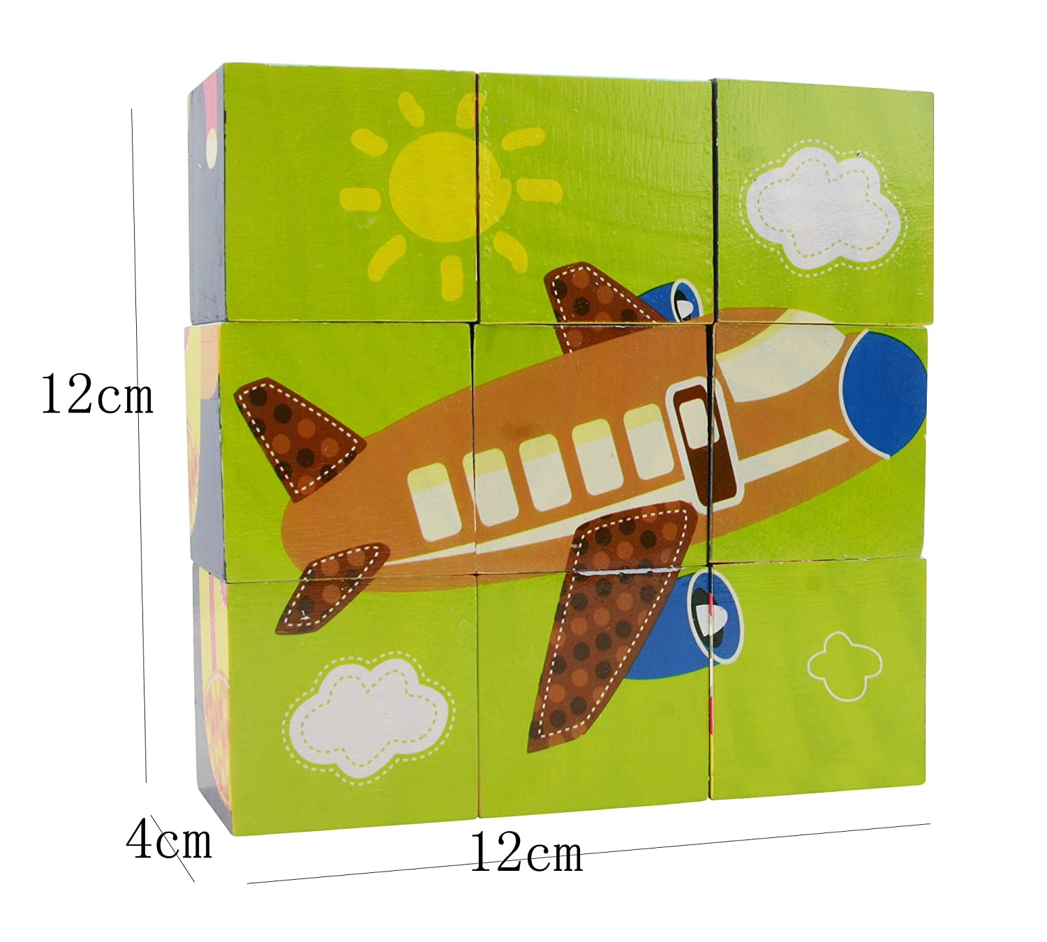 Helicopter Aircraft Airplane Yacht Motorboat Submarine Space Shuttle Ship Boat WJSYSHOP 9 Piece 3D Wooden Blocks Jigsaw Cube Puzzle Toy with Storage Tray for Kids Children