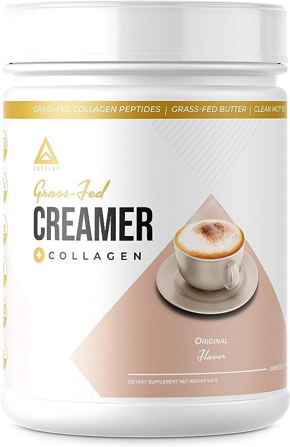 LevelUp - Crema de ceto alimentada con pasto: proteína de colágeno + aceite MCT C8 + mantequilla irlandesa|Crema para café BPC Keto Bomb|Suplemento de ...