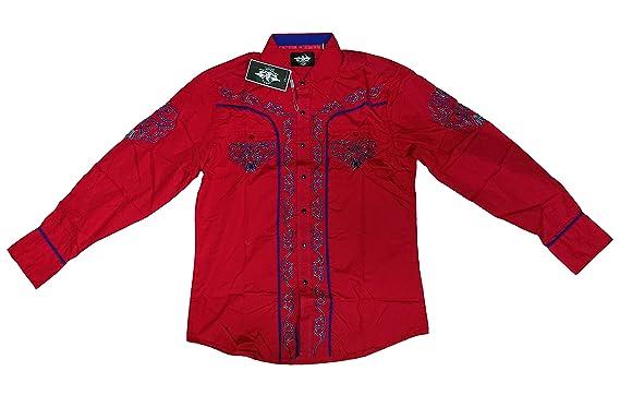Cowboy Shirt Long Sleeve El General Red,Camisa Vaquera Bordada