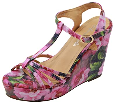 70159022c New Womens High Wedge Heel Platform Sandals T Bar Ankle Strap Floral Print  Shoes (38