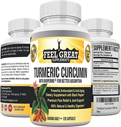 Feel Great Turmeric Curcumin Curcuma Longa with Black Pepper, Best Turmeric Supplement for Joint Pain Relief, Antioxidants More, 100 Organic Turmeric and Curcumin Capsules 1000mg 2 Mo. Supply