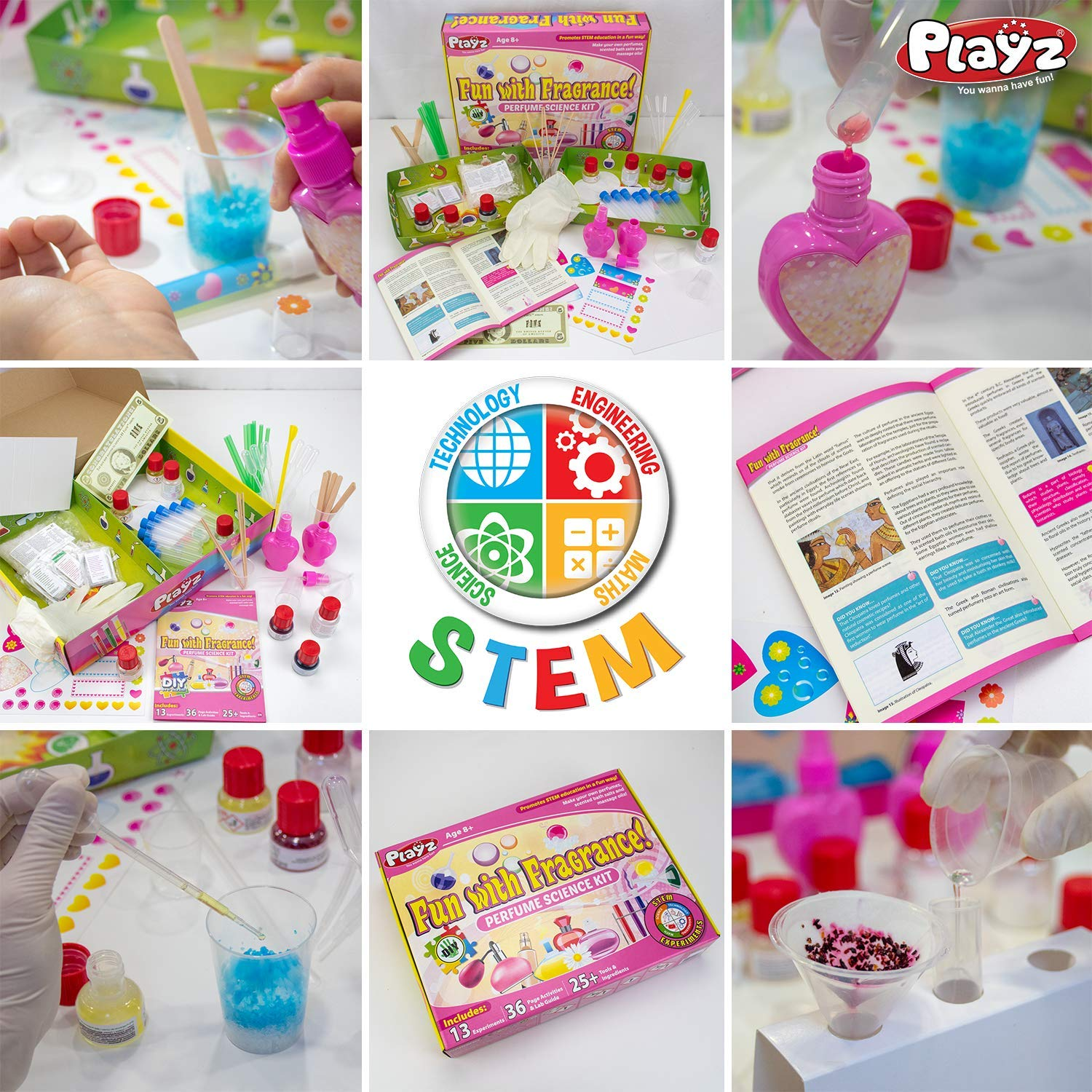Playz Fun with Fragrance Perfume Making Science Kit for Kids - 13+ STEM Experiments & DIY Activities to Learn the Chemistry Behind Perfumes with 36 Page Lab Guide & 27+ Tools and Ingredients for Girls by Playz (Image #5)