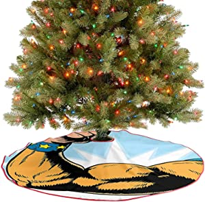 Adorise Tree Mat Superhero Arm Flexing Muscles Powerful Fiction Character Cartoon Graphic Merigold Blue Holiday Party Tree Mat for Merry Christmas Holiday Party Decorations - 30 Inch