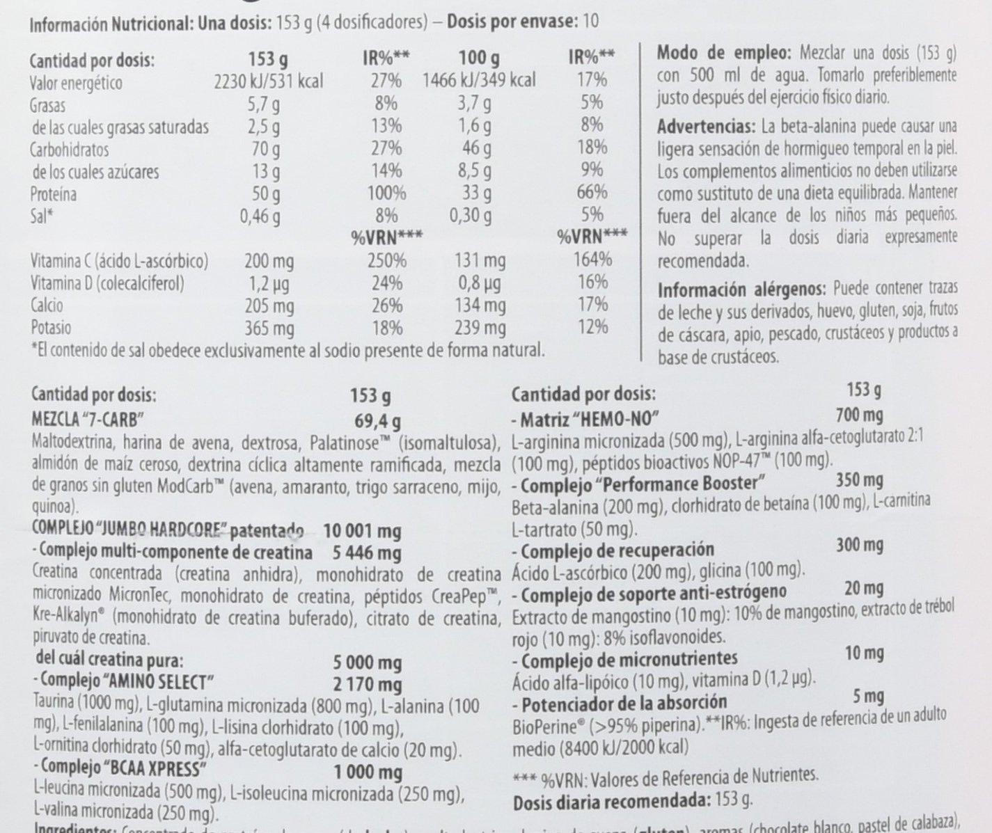 Scitec Nutrition Jumbo Hardcore, Suplimento Nutricional con Sabor de Chocolate Blanco, 1530 g: Amazon.es: Salud y cuidado personal