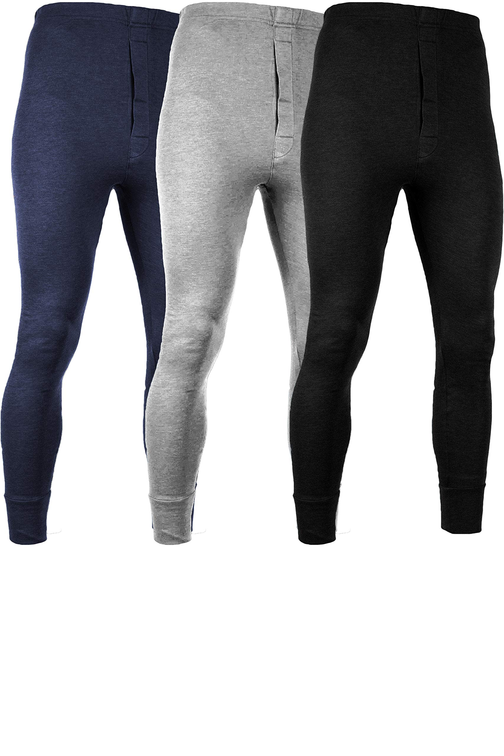 Andrew Scott Men's 3 Pack Premium Cotton Base Layer Long Thermal Underwear Pants (3 Pack - Black/Grey/Navy, XX-Large) by Andrew Scott