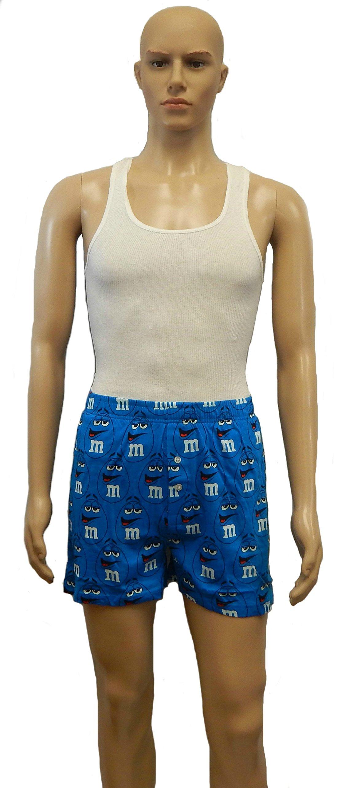 M&M's Candy Character Boxer Shorts Adult Pajama Lounge Sleep Bottoms Shorts Men's Sizing (X-Large, Blue Face)
