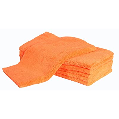 LANTEENSHOW (6-Pack) 16x16 inches Professional Korea 80/20 Blend Super Ultra Plush Thick Microfiber Cleaning Towels for Car Wash,500 GSM Edgeless (16x16 Inches,Orange Color): Automotive