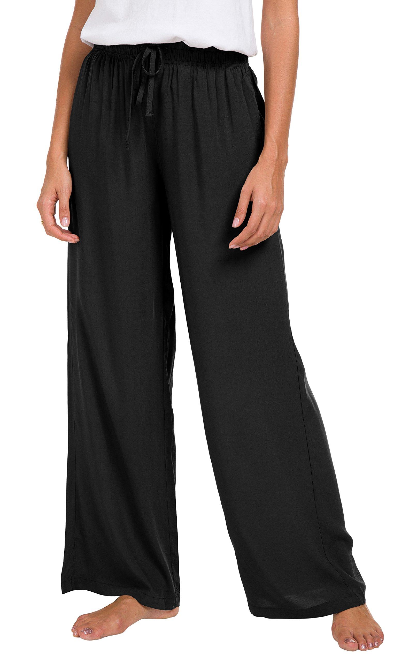 Urban CoCo Women's Solid Color Drawstring Lounge Pants (XL, Black)
