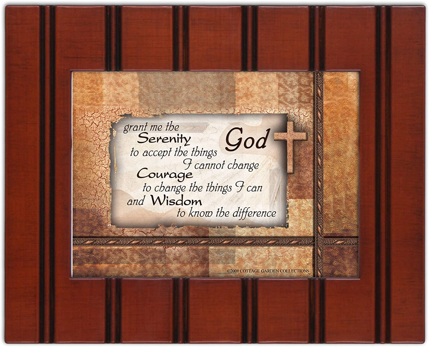Cottage Garden Serenity Prayer 5x7 Wood Grain Frame with Easel Back and Wall Hanger