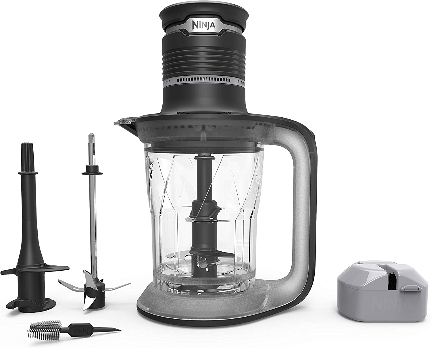 Ninja Ultra Prep Food Processor and Blender with Lightweight 700 Watt Power Pod for Dough, Smoothies, Chopping, Blending PS101 , Black Clear