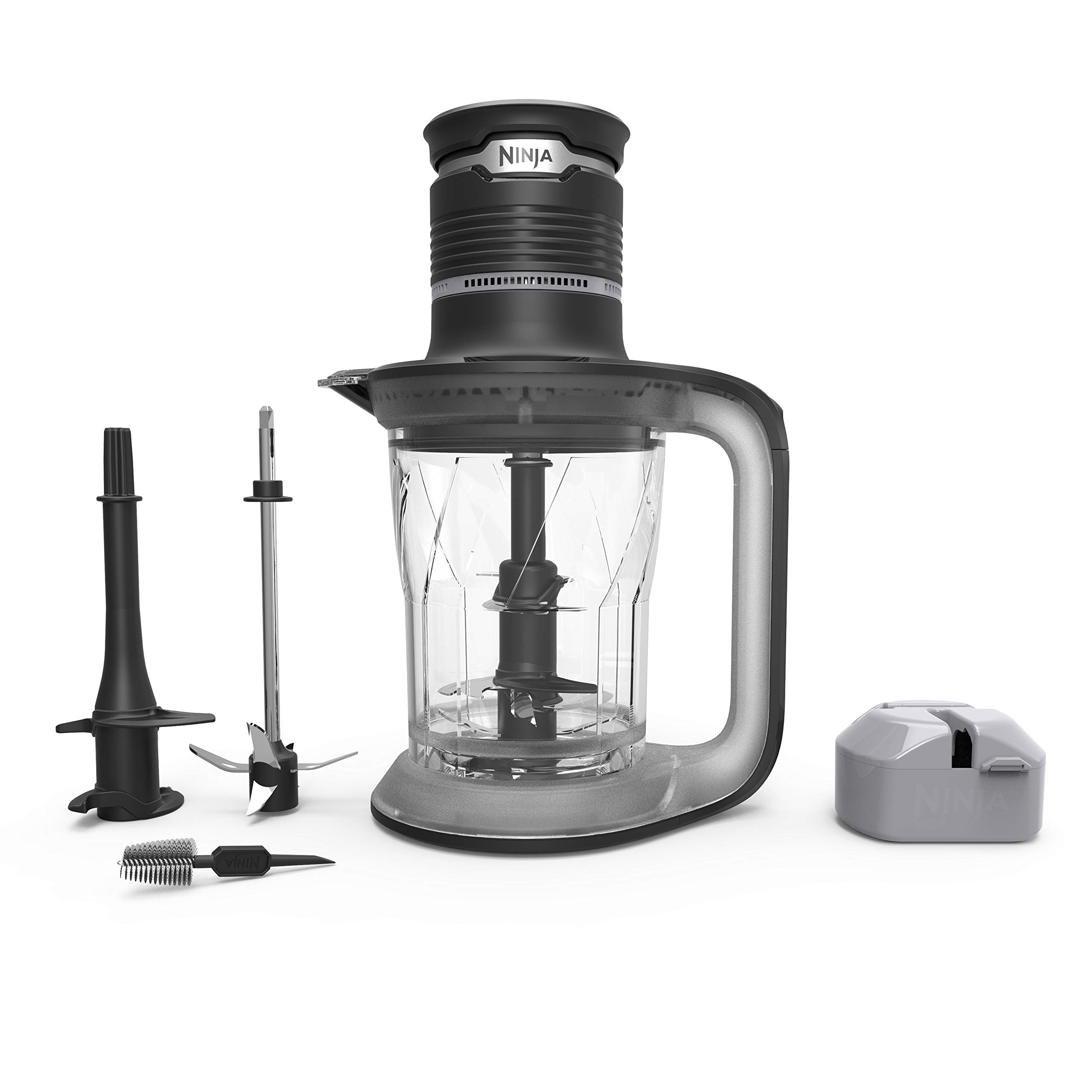 Ninja Ultra Prep Food Processor and Blender with Lightweight 700 Watt Power Pod for Dough, Smoothies, Chopping, Blending (PS101), Black/Clear