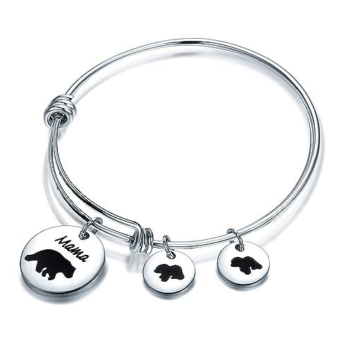 bebf7ef15 FUTOP Mama Bear Bracelet Mama and Baby Bear Bangle Bracelet Gift for  Mother's Day