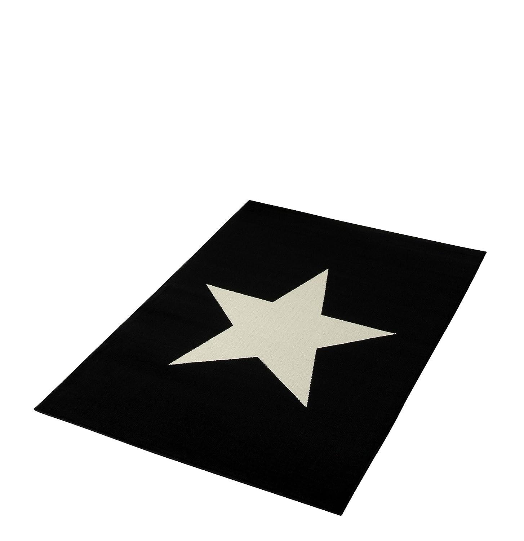 HANSE Home Design Velours Stern Schwarz 140x200 cm Teppich, Polypropylen, Creme, 140 x 200 x 0.9 cm