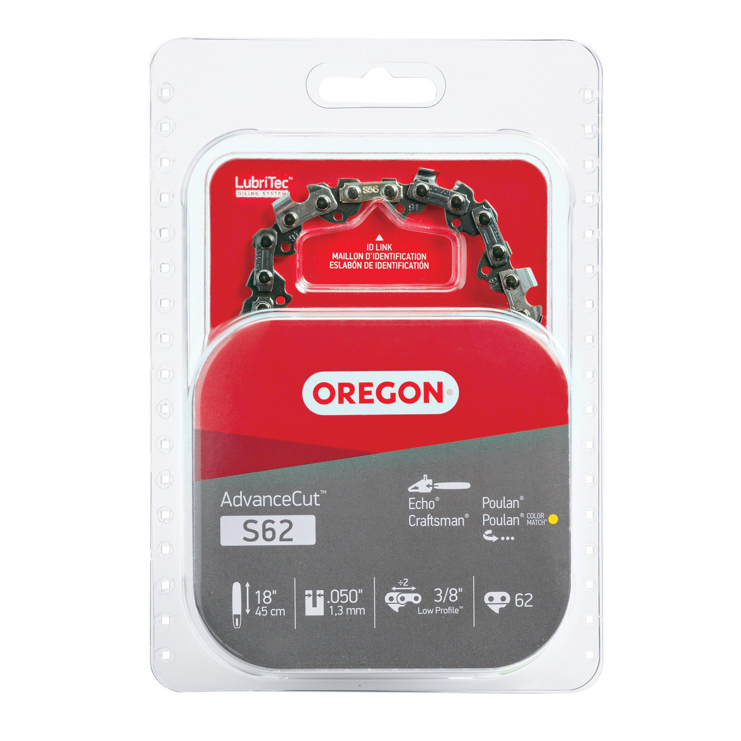 Oregon Poulan S62 AdvanceCut 18-Inch Chainsaw Chain Fits Craftsman, Homelite, Basic Pack