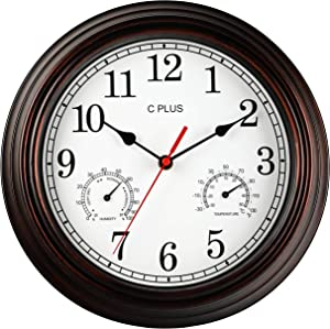 C PLUS Wall Clock Non Ticking Silent Battery Operated 12 Inch Quiet Sweep Quartz Movement Modern Home Decor Temperature with Hygrometer Large Numbers Retro Easy to Read Round Indoor Light White