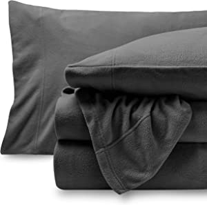 Bare Home Super Soft Fleece Sheet Set - Queen Size - Extra Plush Polar Fleece, Pill-Resistant Bed Sheets - All Season Cozy Warmth, Breathable & Hypoallergenic (Queen, Grey)
