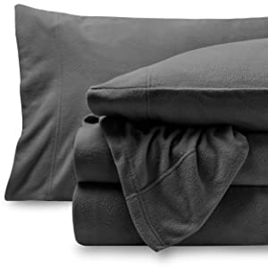 Bare Home Super Soft Fleece Sheet Set - Split King Size - Extra Plush Polar Fleece, Pill-Resistant Bed Sheets - All Season Cozy Warmth, Breathable & Hypoallergenic (Split King, Grey)
