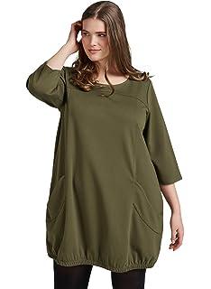 d4fcd974224df8 Zizzi Damen Knielang Kleid mit 3/4 Arm Rundhals Taschen, Große Größen 42-