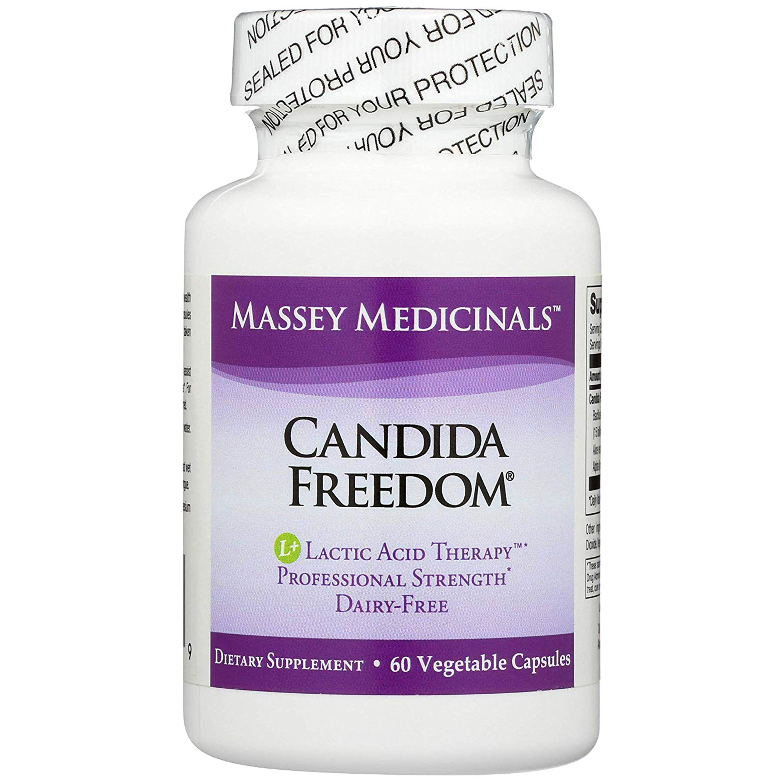 Massey Medicinals - Candida Freedom Yeast Overgrowth Digestive Cleanse - Natural Probiotic to Support Yeast Control & Gut Flora -60 Count by Candida Freedom