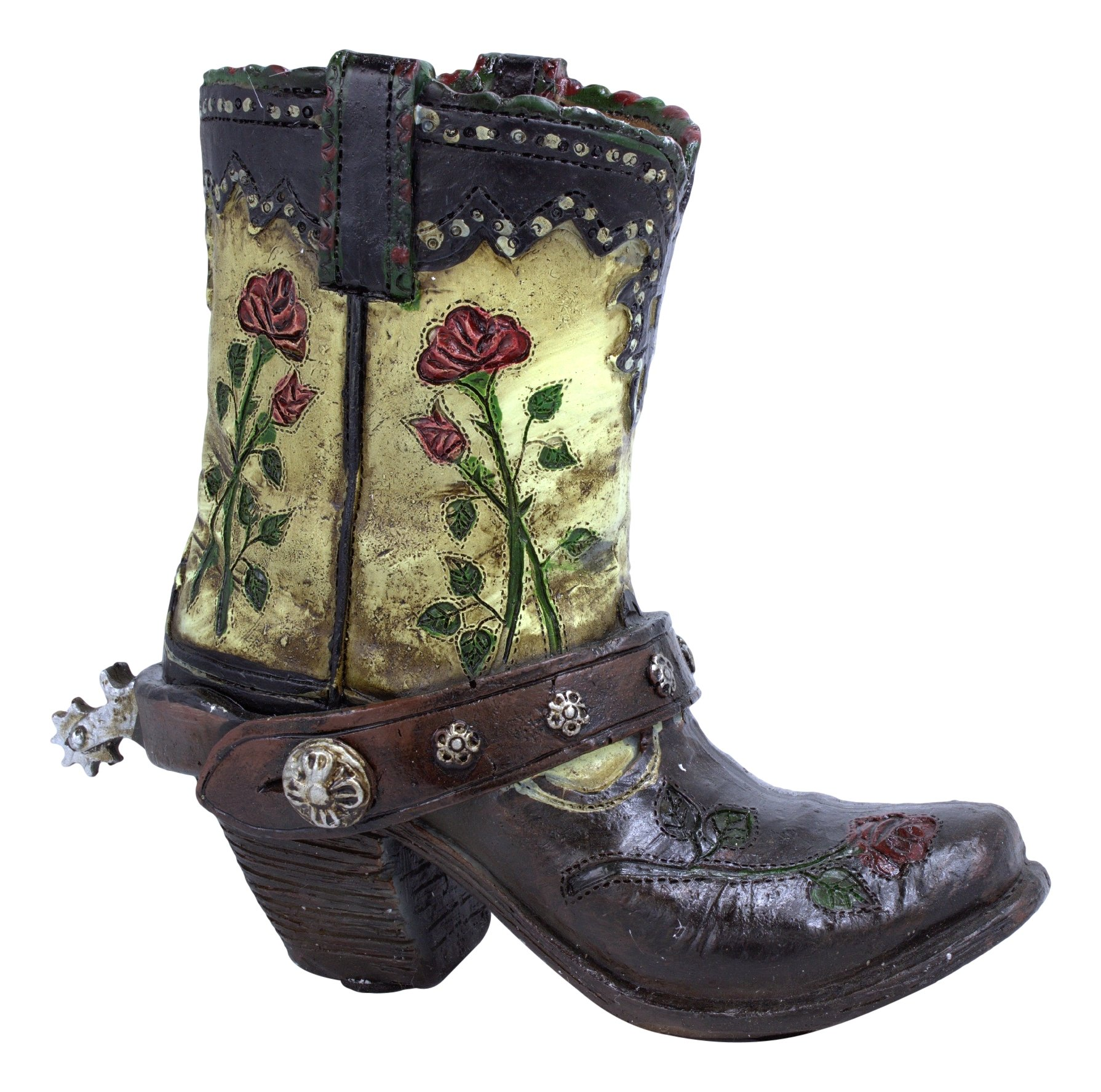 Sat'n Spurs Western Wear Country Small 4.5'' Boot Pencil Cup/Vase, Brown, cream, green, red