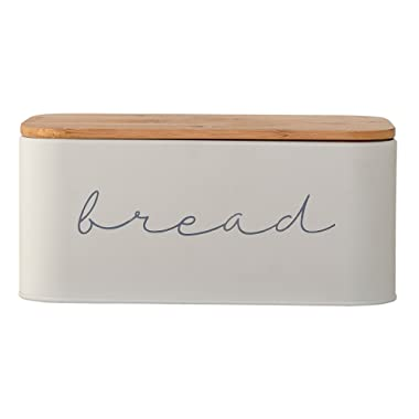 Bloomingville A97306650 Metal Bread Bin with Bamboo Lid, 11.75 L x 5.25 W x 7 H, Grey