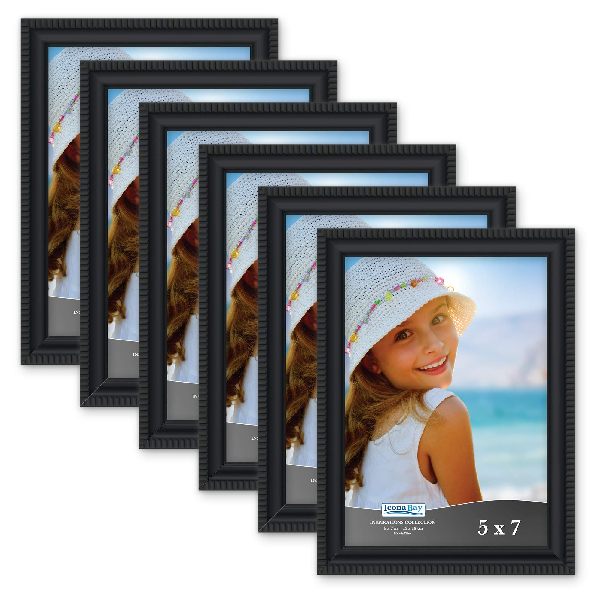 Icona Bay 5x7 Picture Frames (6 Pack, Black) Picture Frame Set, Wall Mount or Table Top, Set of 6 Inspirations Collection by Icona Bay