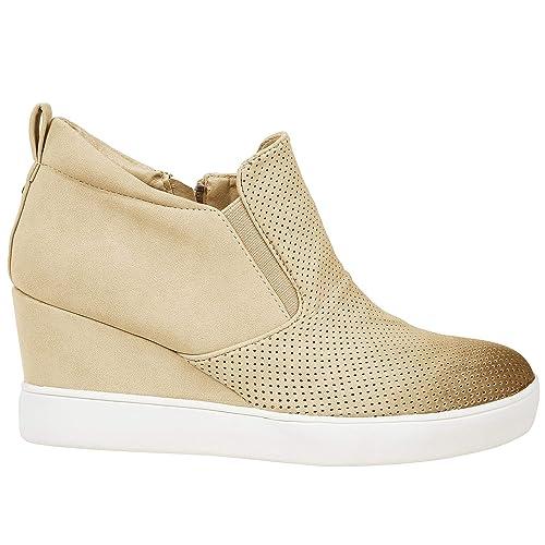 880fe8bf86506 Womens High Top Wedge Sneakers Platform Slip on Side Zip Booties Mid Heel  Ankle Boots