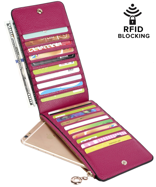 YALUXE Women's RFID Blocking Genuine Leather Multi Card Organizer Wallet with Zipper Pocket RFID Blocking Dark Pink