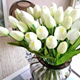 StillCool Artificial Flowers Tulip 12pc/set Pu Stunning Holland Mini Tulip Real Touch Wedding Flower Artificial Flowers Latex Plants for Party Home Hotel Event Christmas Gift Decoration (White)