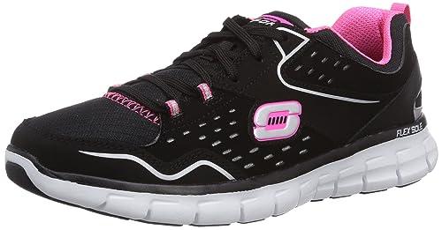 Skechers SynergyFront Row - Zapatillas de deporte Mujer, Negro (Negro (BKHP)), 35